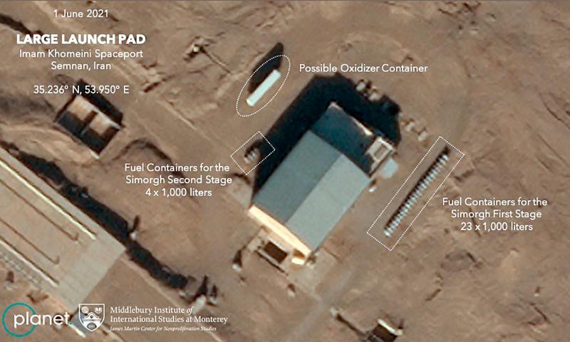 This satellite image provided by Planet Labs Inc that has been annotated by experts at the James Martin Centre for Nonproliferation Studies at Middlebury Institute of International Studies shows preparation at the Imam Khomeini Spaceport in Iran's Semnan province on June 1 before what experts believe was the launch of a satellite-carrying rocket. — AP