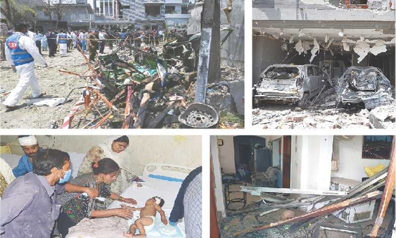 (Clockwise) A member of the Counter Terrorism Department surveys the scene after the bomb explosion. Mangled remains of two vehicles after the blast. A view of the destruction in the house. A woman cries as her injured baby is brought to the Jinnah Hospital.—Murtaza Ali-White Star / Online / PPI
