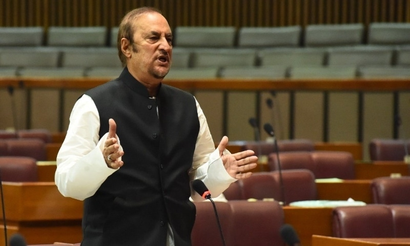 Adviser to the Prime Minister on Parliamentary Affairs Babar Awan speaks during the National Assembly session on Wednesday. — Photo courtesy NA Twitter