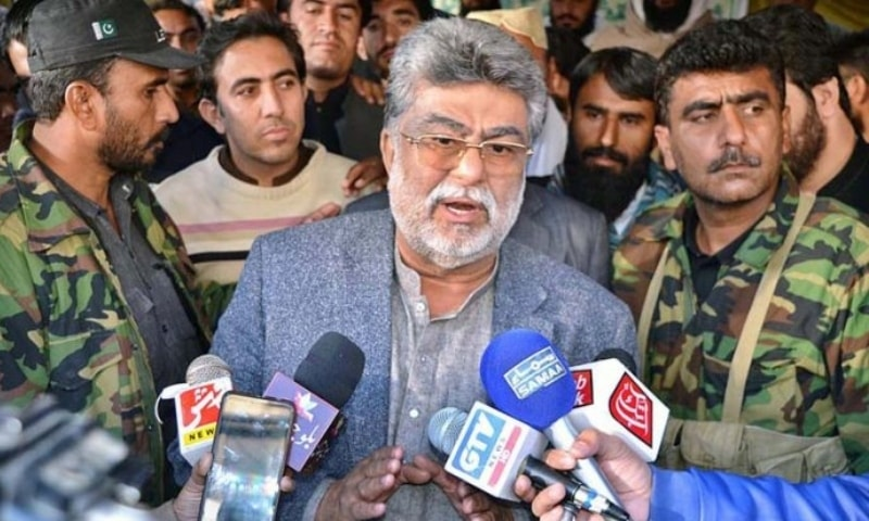 In this file photo, Balochistan Education Minister Sardar Yar Muhammad Rind talking to media persons in Quetta. — APP
