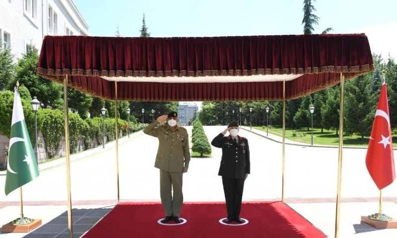 Chief of the Army Staff General Qamar Javed Bajwa met Turkey's Minister of National Defence Hulusi Akar. — Photo courtesy ISPR