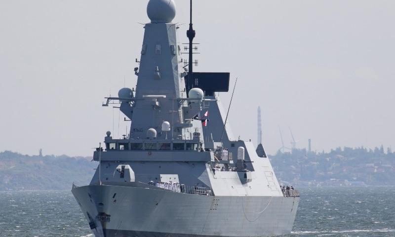 British Royal Navy's Type 45 destroyer HMS Defender arrives at the Black Sea port of Odessa, Ukraine June 18. — Reuters
