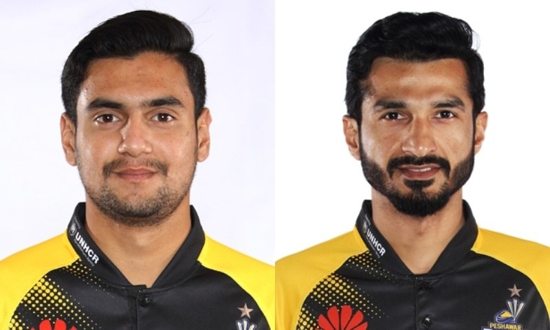 Peshawar Zalmi duo Haider Ali (L) and Umaid Asif have been suspended from Thursday's Pakistan Super League (PSL) final against Multan Sultans. — Photo courtesy PCB