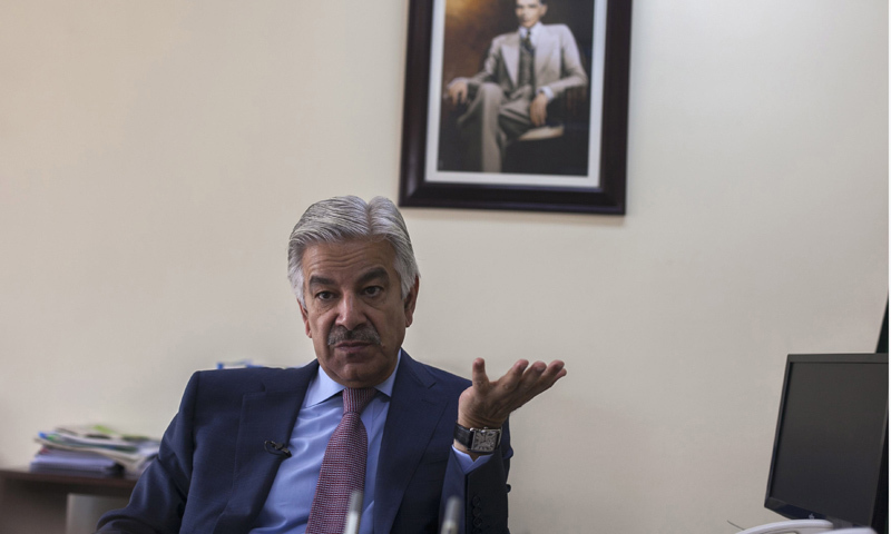 Khawaja Asif speaks during an interview with Reuters at his office in Islamabad on March 6, 2014. – Reuters/File