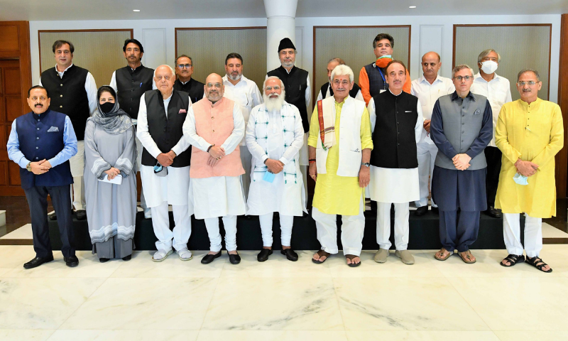 This photo shows Indian Prime Minister Narendra Modi (C) with Kashmiri leaders and government officials. — Photo courtesy Narendra Modi Twitter
