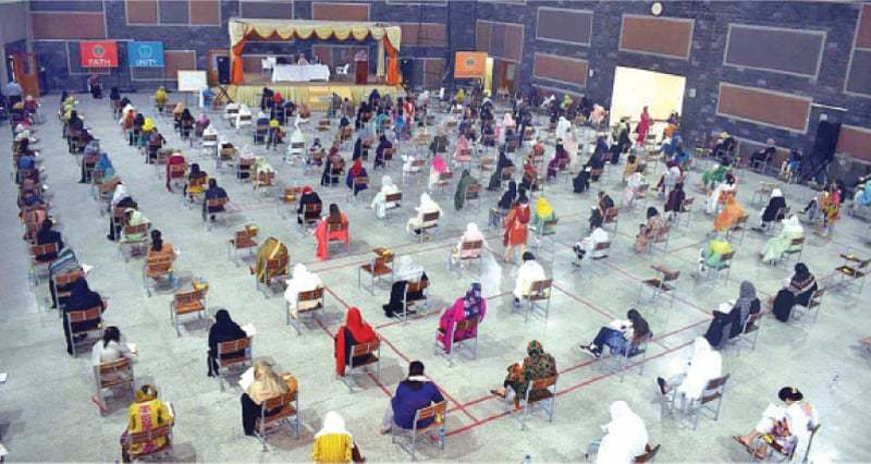 In this file photo, candidates appear in the entry test for MBBS/BDS session 2020 conducted by National University of Medical Sciences in Rawalpindi. — APP