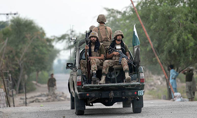Five soldiers from Frontier Corps Balochistan were martyred after terrorists targeted a patrolling party in Sibi district's Sangan area, the military's media affairs wing said on Friday. — AFP/File