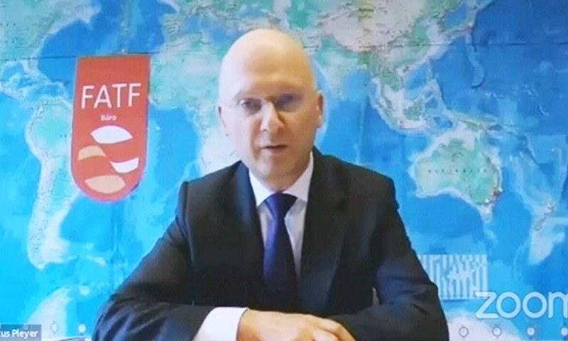 FATF President Dr Marcus Pleyer addresses a virtual press conference on June 25. — DawnNewsTV screengrab