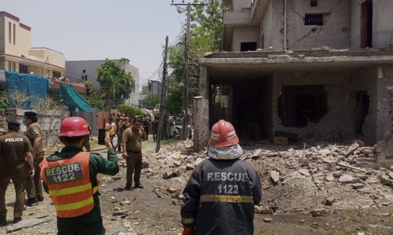 This picture shows the site of the blast in Lahore's Johar Town. — Photo by Imran Gabol