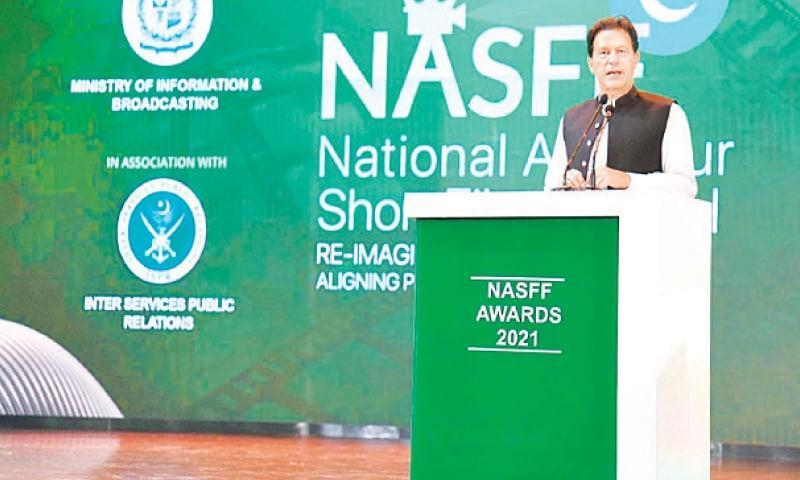 ISLAMABAD: Prime Minister Imran Khan addressing the National Amateur Short Film Festival Awards ceremony on Saturday.—APP