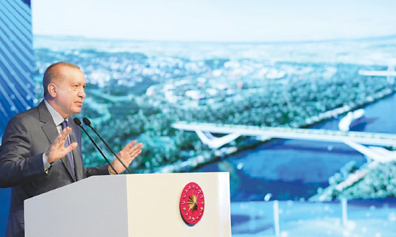 Turkish President Tayyip Erdogan speaks during the groundbreaking ceremony of Sazlidere Bridge over the planned route of Kanal Istanbul on Saturday. — Reuters