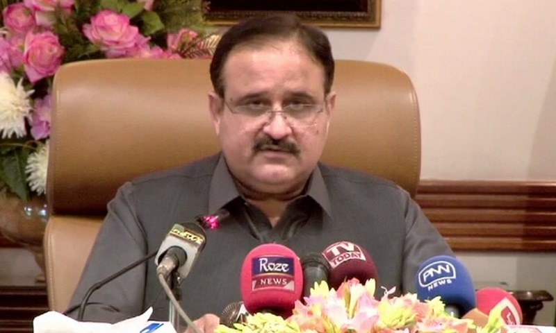 Punjab Chief Minister addresses a press conference in Lahore on Monday. — DawnNewsTV