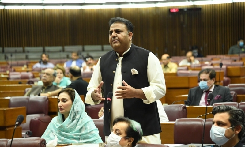 Information Minister Fawad Chaudhry Fawad Chaudhry speaks in the National Assembly on Monday. — Photo courtesy National Assembly Twitter