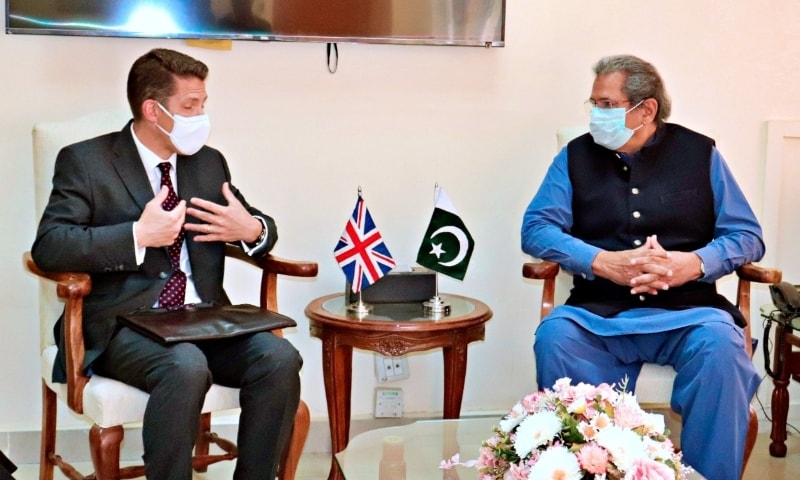 In this file photo,  British High Commissioner Christian Turner calls on Federal Minister for Education and Professional Training Shafqat Mahmood. — Photo courtesy Govt of Pakistan Twitter