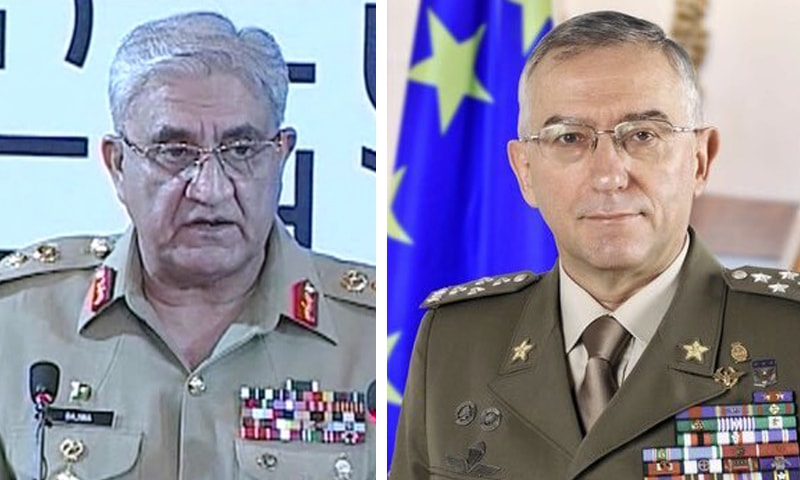 Chief of the Army Staff Gen Qamar Javed Bajwa (L) discussed key issues with Chairman of the European Union Military Committee Gen Claudio Graziano (R) on Tuesday. — DawnNewsTV/ Photo courtesy Gen Claudio Graziano Twitter