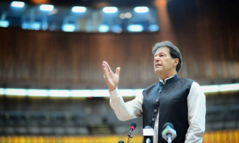 Prime Minister Imran Khan speaks in the National Assembly on Wednesday. — Photo courtesy: PM Imran's Instagram