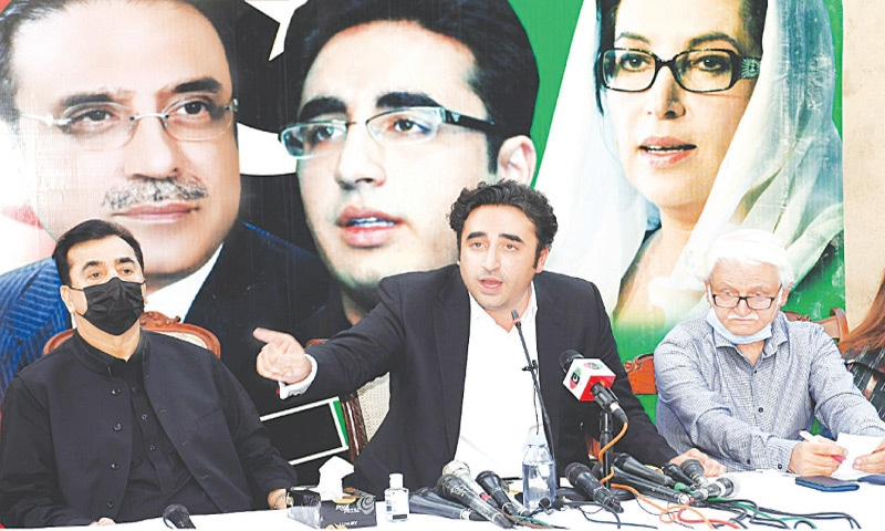 ISLAMABAD: PPP chairman Bilawal Bhutto-Zardari addressing a press conference on Wednesday.—White Star