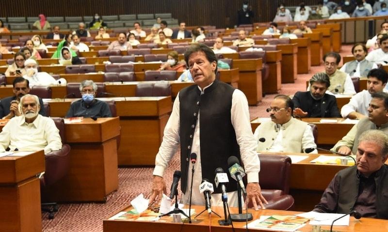 Prime Minister Imran Khan speaks on the floor of the National Assembly on Wednesday. — Photo courtesy NA Twitter