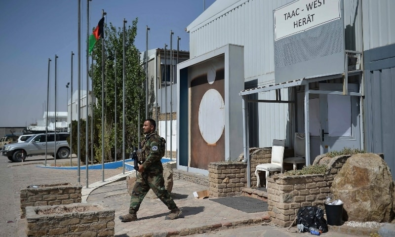 An Afghan National Army (ANA) soldier walks inside the Italian Camp Arena military base after Italian forces left the camp in Guzara district of Herat province on June 30. — AFP