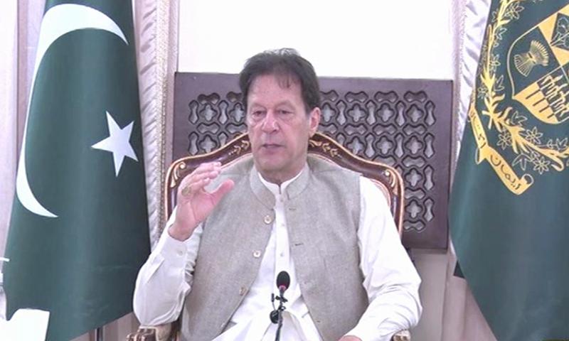 Prime Minister Imran Khan speaks to the Chinese media on Thursday. — DawnNewsTV