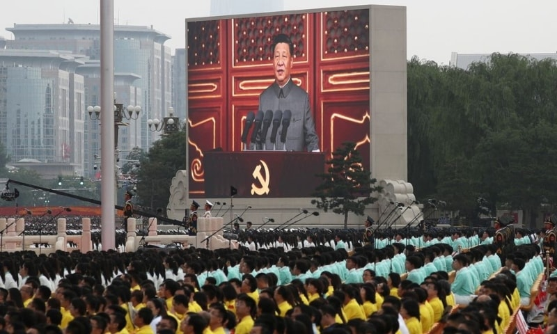 Chinese President Xi Jinping is seen on a giant screen as he delivers a speech at the event marking the 100th founding anniversary of the Communist Party of China, on Tiananmen Square in Beijing, China, July 1. — Reuters