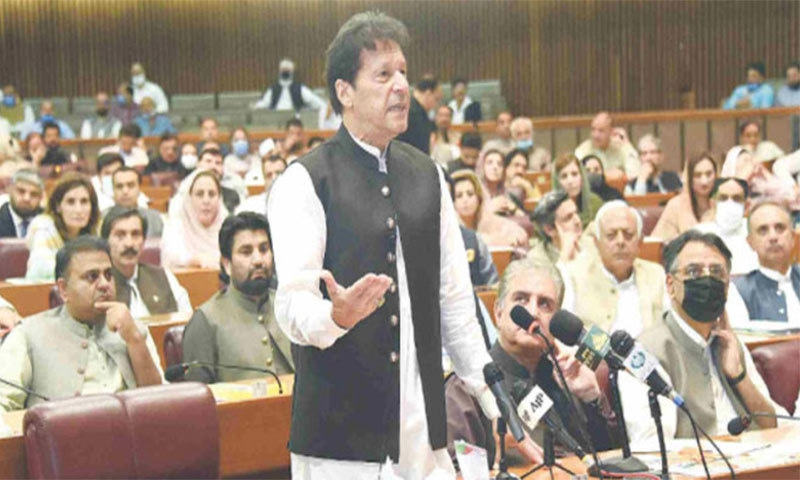 ISLAMABAD: prime minister Imran khan addressing the National Assembly on Wednesday.—White Star