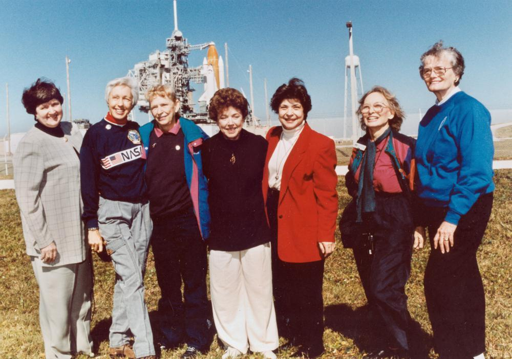 In this 1995 Nasa file photo, members of the FLATs, also known as the Mercury 13, gather for a photo as they attend a shuttle launch in Florida. From left are Gene Nora Jessen, Wally Funk, Jerrie Cobb, Jerri Truhill, Sarah Rutley, Myrtle Cagle and Bernice Steadman.