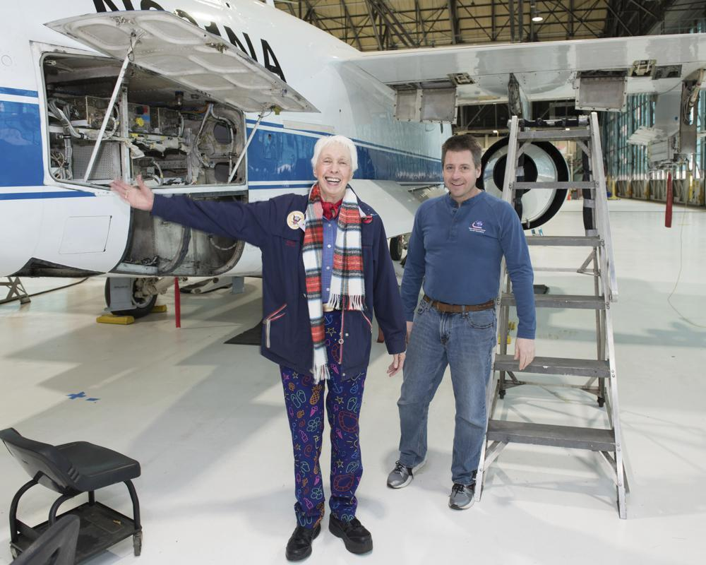 In this 2019 photo made available by Nasa, Mercury 13 astronaut trainee Wally Funk visits the Glenn Research Center at Lewis Field in Cleveland, Ohio.