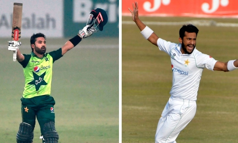 This combo photo shows Hassan Ali (right) and Mohammad Rizwan. — Photo courtesy PCB/AFP