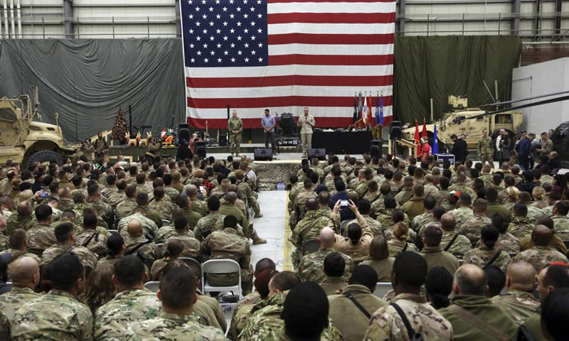 In this December 24, 2017 file photo, General Joseph Dunford, then chairperson of the Joint Chiefs of Staff, speaks during a ceremony on Christmas Eve at Bagram Air Base, in Afghanistan. — AP/File