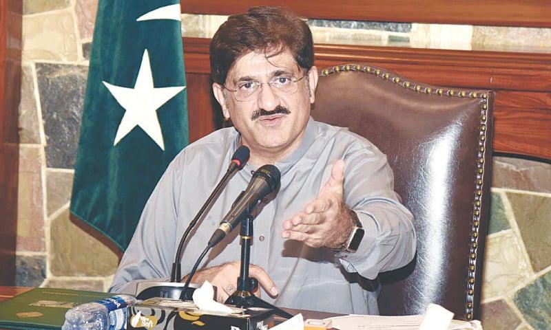 CM Murad Ali Shah speaks to the media on Friday. — PPI