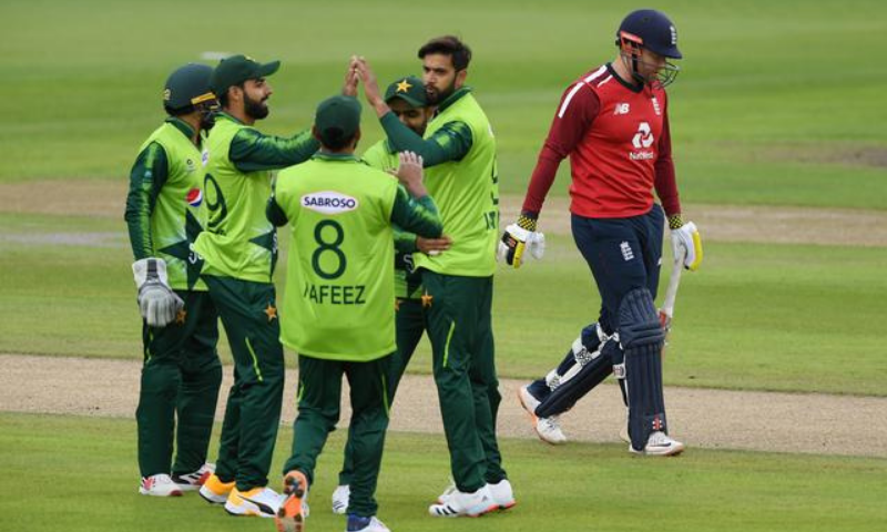 In this file photo, Imad Wasim celebrates the wicket of England's Johnny Bairstow with teammates. — Reuters/File