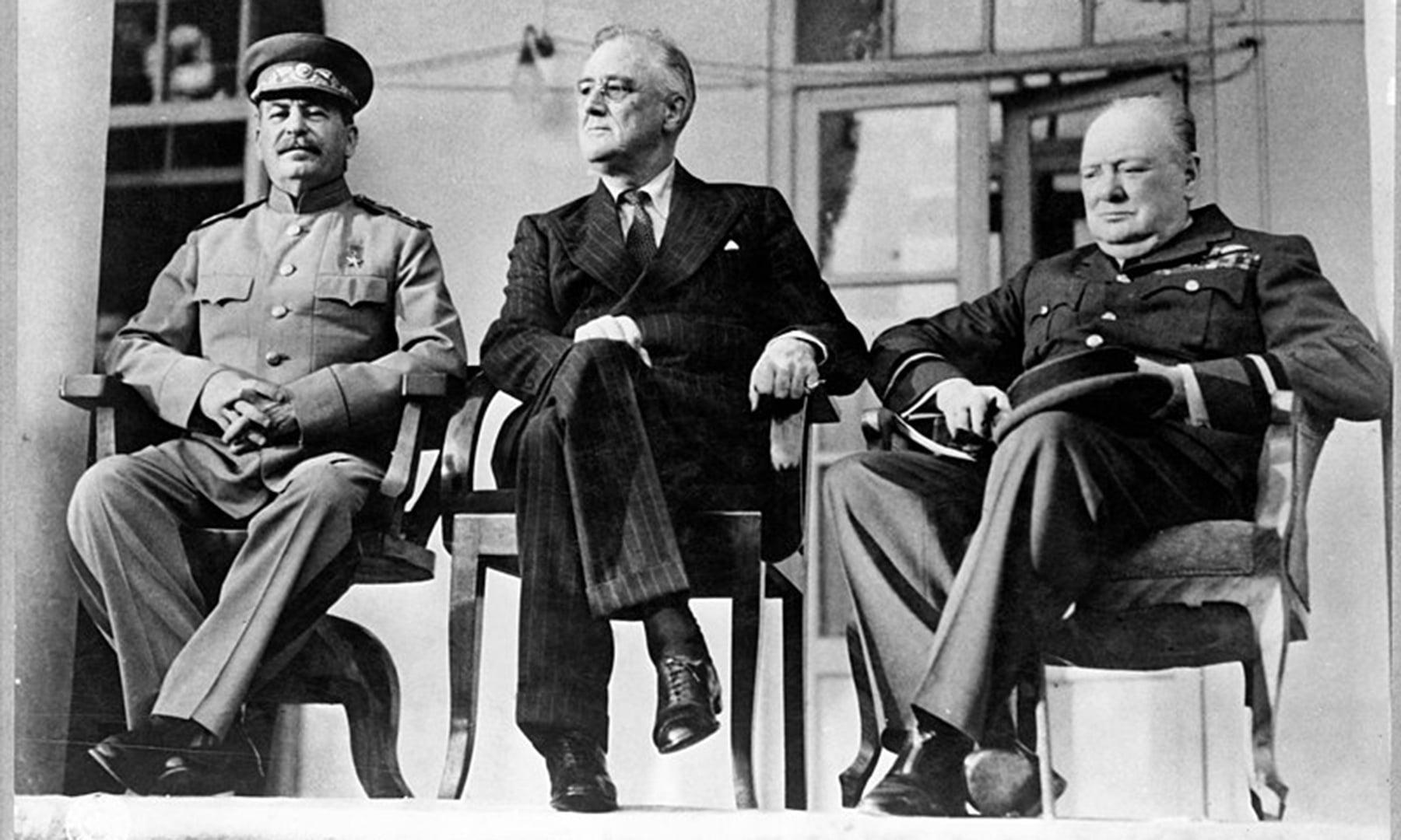 الائیڈ رہنما ونسٹن چرچل، فرینکلن روز ویلٹ اور جوزف اسٹالن