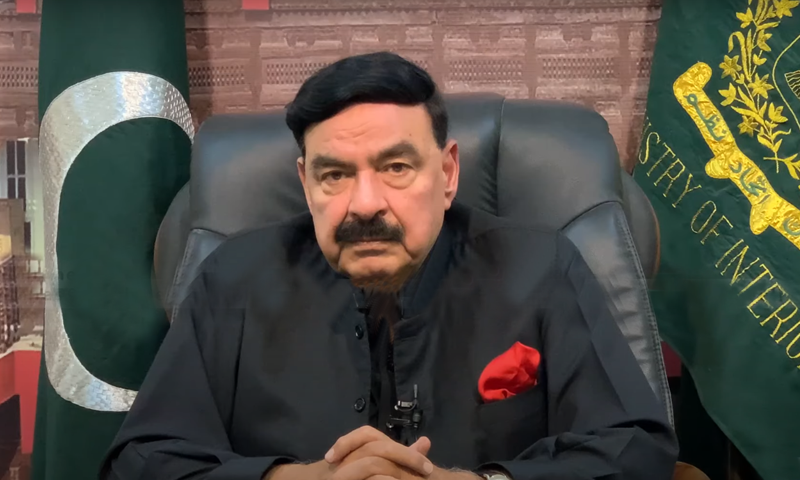 Minister for Interior Sheikh Rashid Ahmed in an interview with Geo News show Naya Pakistan. — DawnNewsTV screenshot