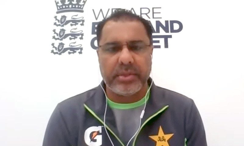 Waqar Younis addressing a virtual press conference from England. – DawnNewsTV screengrab
