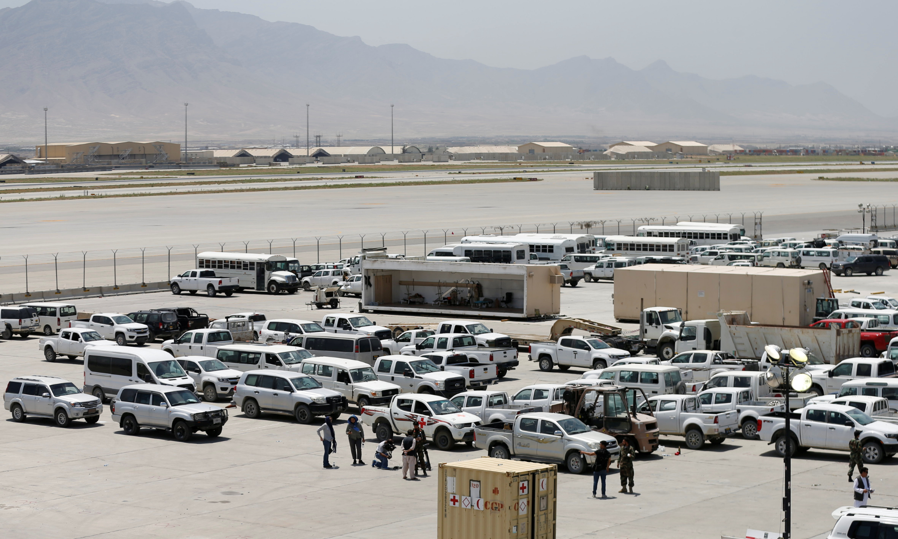Parked vehicles are seen in Bagram US air base, after American troops vacated it, in Parwan province, Afghanistan. — Reuters