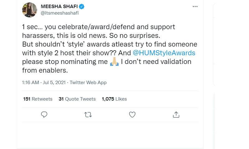 میشا شفیع نے ایوارڈز تقریب کے بعد ٹوئٹ کی—اسکرین شاٹ