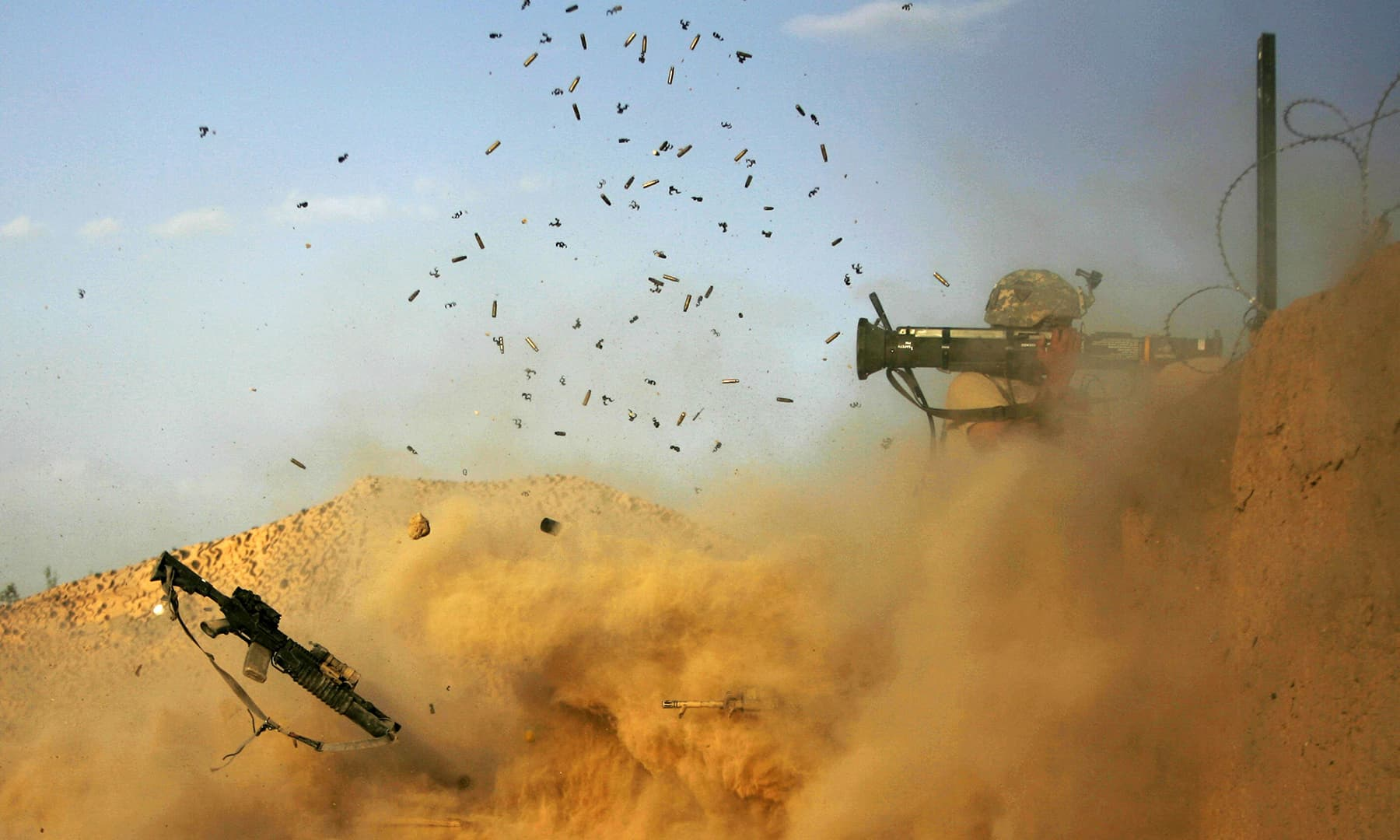 In this file photo taken on September 11, 2010, a US army soldier with the 101st Airborne Division Alpha Battery 1-320th fires an AT-4 as Combat Outpost Nolen on the outskirts of the village of Jellawar in the Arghandab Valley came under Taliban attack. — AFP