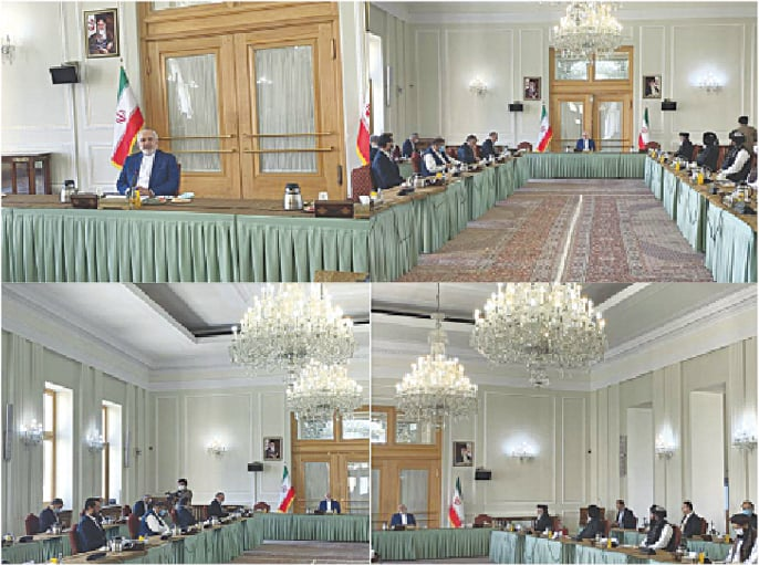 A combo released by the Iranian foreign ministry shows a meeting between Taliban and the government of Afghanistan, hosted by Iranian Foreign Minister Mohammad Javad Zarif in Tehran.—AP