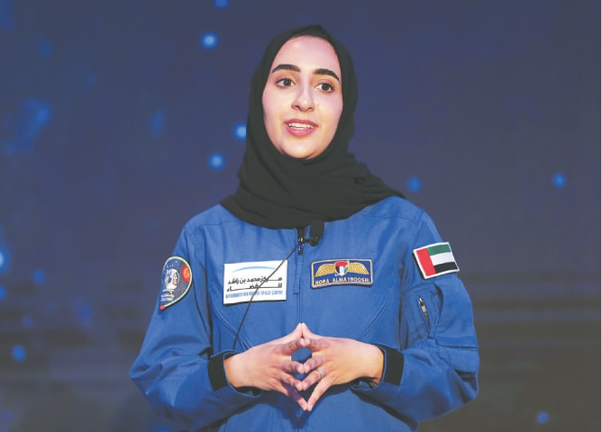 Emirati astronaut Nora al Matrooshi speaks to journalists during her first public appearance at a news conference held by Mohammed bin Rashid Space Centre in Dubai on Wednesday.—AP