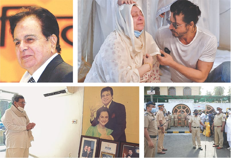 (Clockwise) Dilip Kumar smiles after receiving a lifetime achievement award from India's president Pratibha Patil (unseen) during the national film awards ceremony in New Delhi in Sept 2008. Saira Bano, the actor's wife, is consoled by Shahrukh Khan at her residence in Mumbai. Police stand guard outside the mosque during the funeral. Film director Subhash Ghai pays his respects at Dilip Kumar's residence.—Reuters/AFP