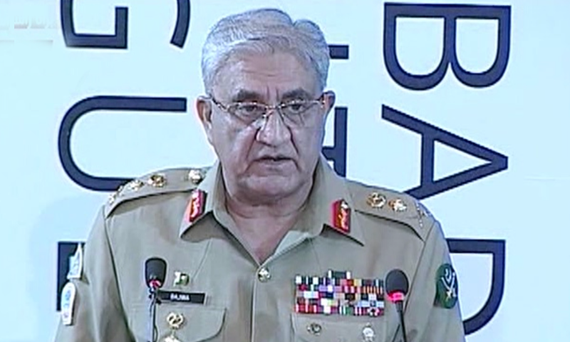 In this file photo, COAS Qamar Javed Bajwa addresses the first Islamabad Security Dialogue. – DawnNewsTV/File