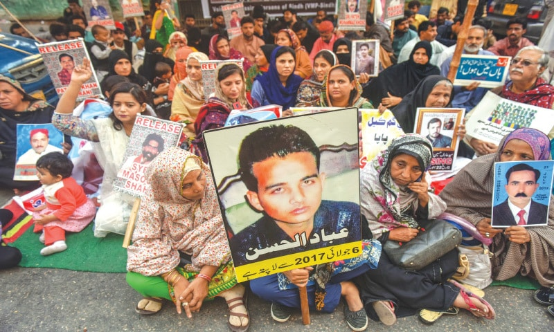 Relatives of missing persons demonstrate outside Karachi Press Club   White Star