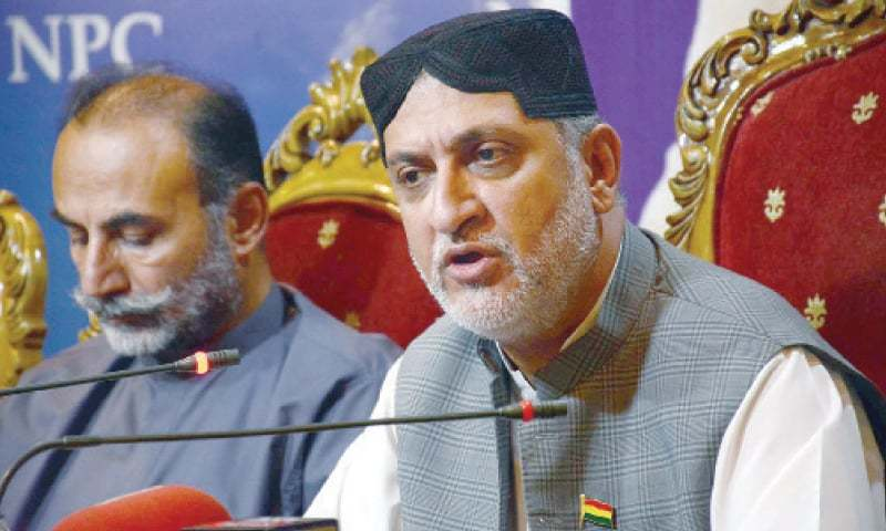 In this file photo, BNP-M chief Akhtar Mengal speaks at the National Press Club. — White Star/File