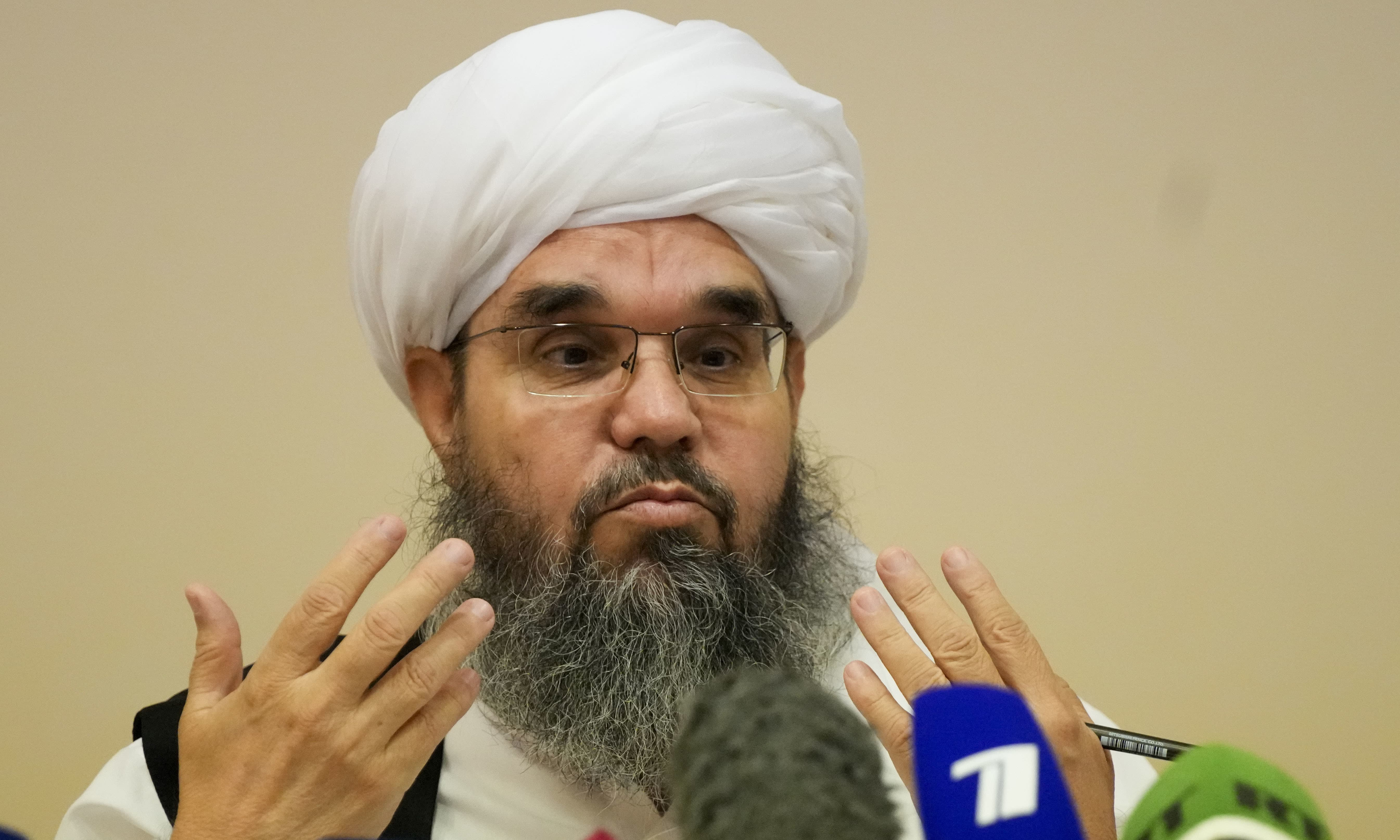 Mawlawi Shahabuddin Dilawar, member of political delegation from the Afghan Taliban's movement gestures during a news conference in Moscow, Russia on Friday. — AP
