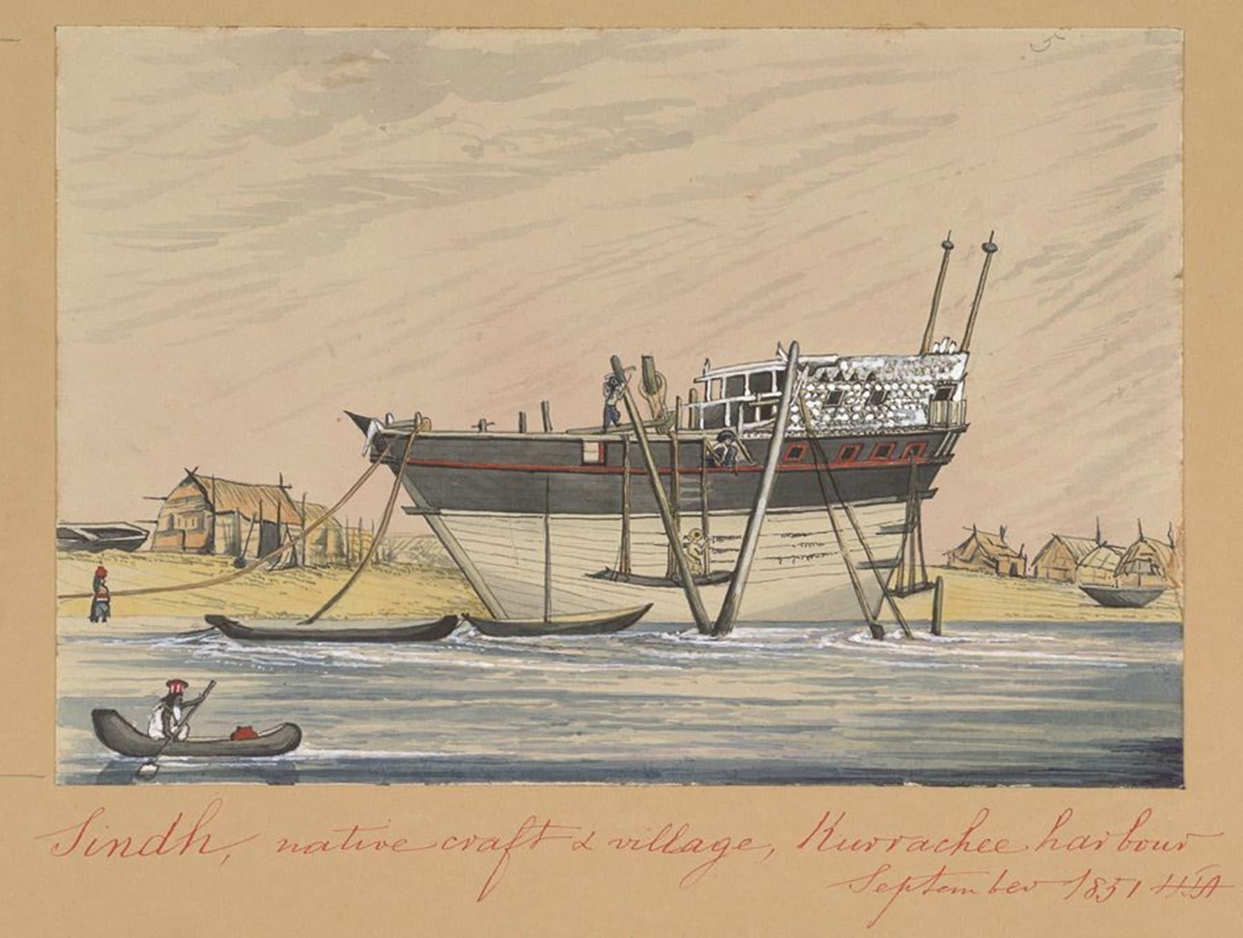 1851ء میں کراچی بندرگاہ کے پاس واقع ایک گاؤں