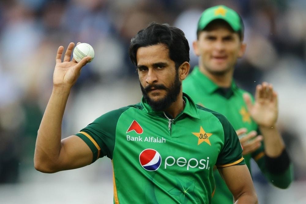 Hasan Ali celebrates taking the wicket of England's Saqib Mahmood. — Reuters