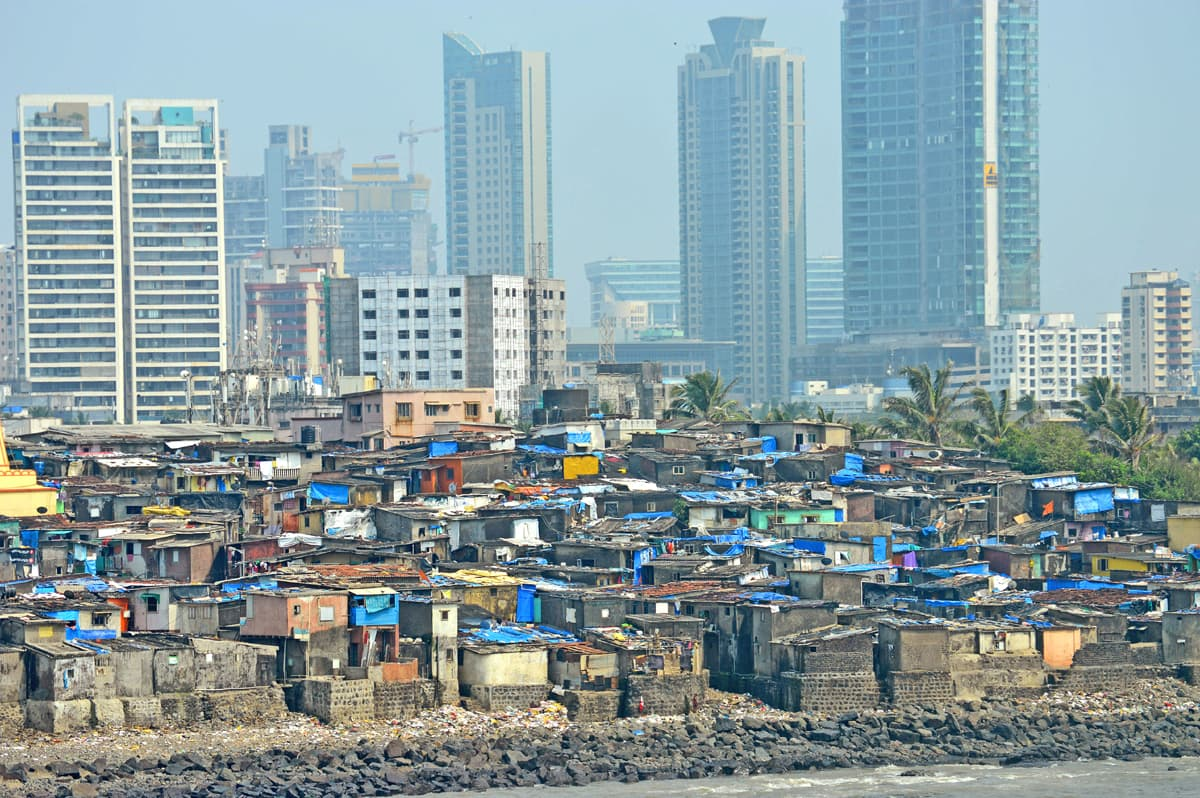 New high-rises appear in sharp contrast to katchi abadis