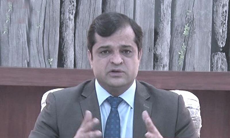 In this file photo, Balochistan government spokesperson Liaquat Shahwani  addresses the media. — DawnNewsTV/File
