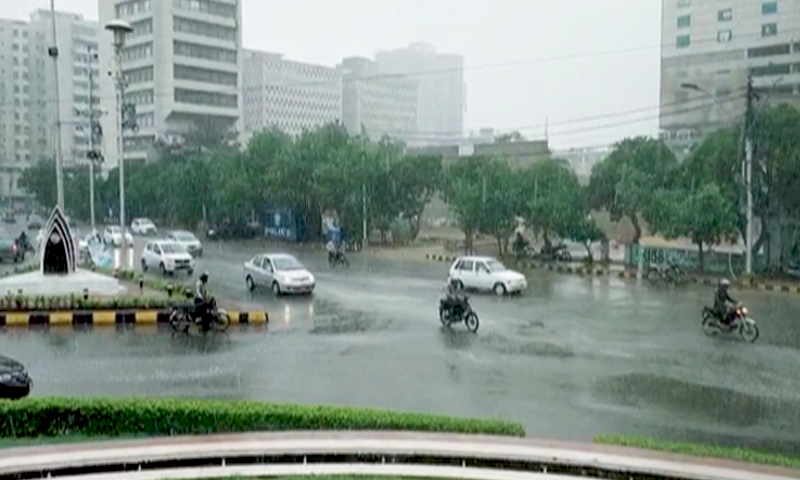 The first day of the week brought a brief reprieve from the heat for Karachiites as the city woke up to the year's first spell of monsoon rainfall. — DawnNewsTV